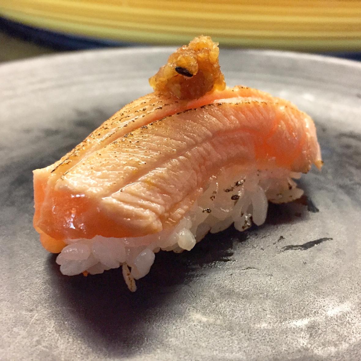 Sokyo Salmon Belly Aburi Nigiri